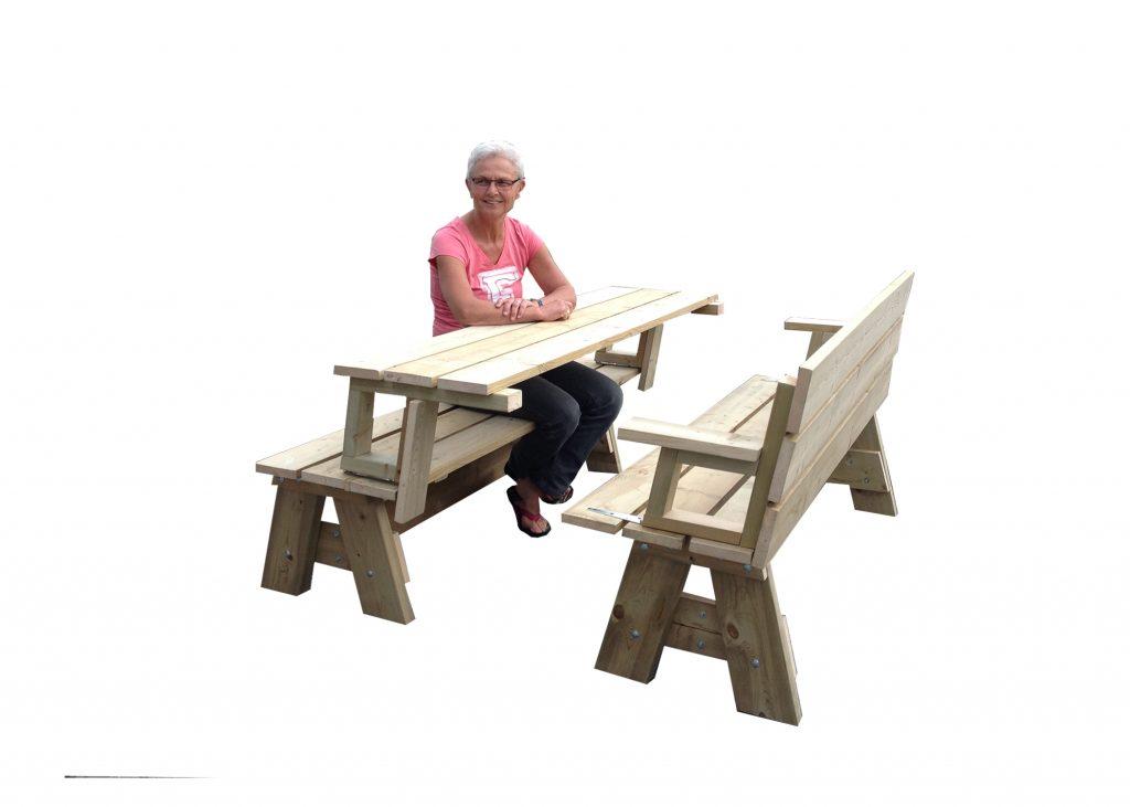 Flexibele buitenbank - picknicktafel - werktafel