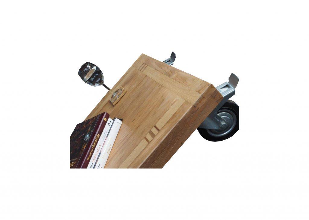 Verrijdbare salontafel, ingelegd met verschillende soorten hout