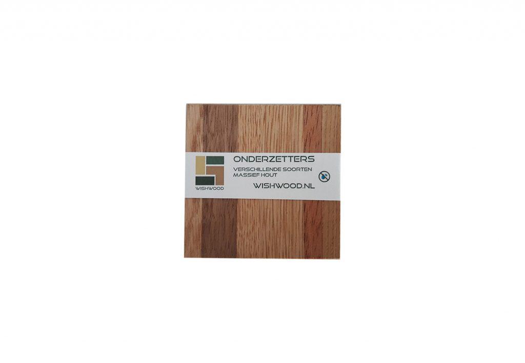 Onderzetters van verschillende soorten massief hout, elke set is uniek