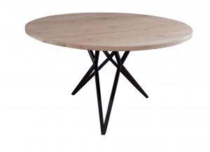 Ronde tafel van gedeeltelijk gerecycled eikenhout met stalen onderstel